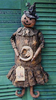 The Country Cupboard Primitive Folk Art Halloween Pumpkin Doll Craft Pattern.