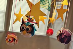 One of the most amazing Night Owl parties I've seen (snowybliss.blogspot.com) ~ but I'm thinking just making these cutie little owls would be a great activity for the kids