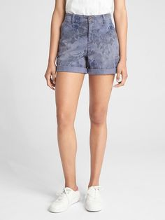 """5"""" Girlfriend Chino Shorts with Floral Print"""