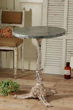 アンティーク アイアンビストロテーブル(シャビーホワイト)  French Antique Bistro Table