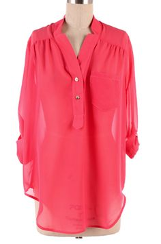 Sheer Coral Blouse- pair with skinnies and boots.