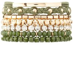 Charlotte Russe Bead & Rhinestone Layering Bracelets - 7 Pack featuring polyvore women's fashion jewelry bracelets olive beaded jewelry bead jewellery layered jewelry rhinestone bangles beaded bangles