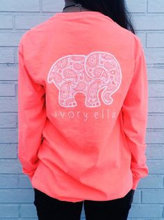Orange Red Elephant Print Long Sleeve Shirt