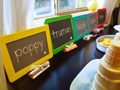 1. Write-On Chalkboards    Kids love playing school, so why not let them embrace their inner teacher with these cute mini chalkboards. Bundle up some chalk, and personalize one for each guest.