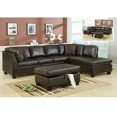 Idea for sectional-Brown leather sectional with chaise and ottoman w/ storage