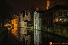 Lights at night, Bruges, Belgium