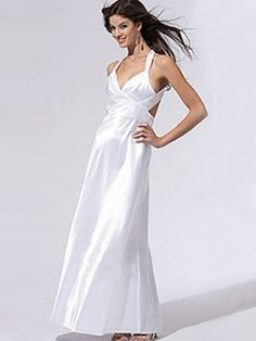 A-line Straps Elastic Woven Satin Ankle-length Beading Evening Dresses