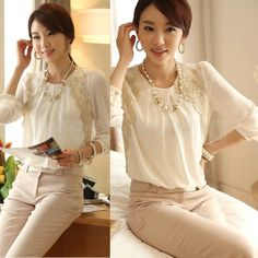 Q523 HOT New Women Ladies Chiffon Long Sleeve Pullover Chiffon Embroidered Blouse Tops T shirt Casual Free Shipping Wholesale $11.59