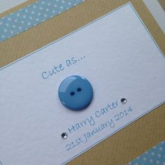 New baby, baby boy, baby girl, newborn. Handmade card.