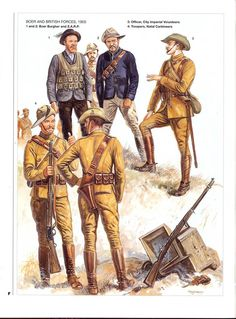BOER AND BRITISH FORCES,1900 1 and 2 :Boer Burgher and Z.A.R.P. 3:Officer,City Imperial Volunteers.4:Trooper,Natal Cartineers.