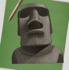 Richard Wilkinson, Illustrator and co-curator of the mega book Historium, teaches you how to draw an amazing Easter Island head in pencil Draw Two, Deep Set Eyes, Book Sites, Easter Island, White Pencil, Head & Shoulders, Line Drawing, Drawing Ideas, Pencil Illustration
