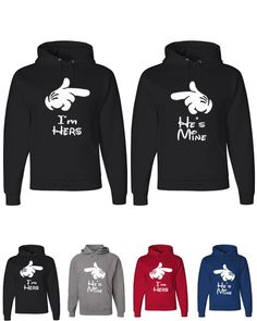 Couple Matching Unique Hooded Sweatshirts  I'm Hers He's Mine Mickey Mouse Hands Couple Matching Hooded Sweatshirts now at $ 63.99 Only  Buy now: http://teehunt.com/products/im-hers-hes-mine-hooded-sweatshirt  #CoupleMatchingHoodedSweatshirts