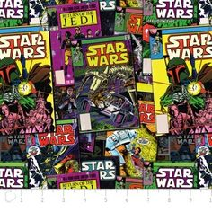 Camelot Cottons, Star Wars III, Comic Collection Multi, Fabricworm brings you the best in modern fabric! Novelty Fabric, Novelty Print, Fabric Patterns, Sewing Patterns, Cotton House, Fabric Stars, Fabric Remnants, Fabric Design, Tela