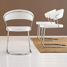 Beautiful New York Chair Cantilever Base By Calligaris In White Leather Awesome Design