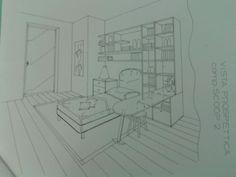 Progetto Cameretta Zona letto con libreria attrezzata e piano scrittoio a penisola.
