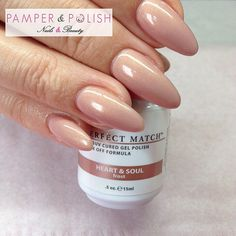 Trendy nude nails in Heart & Soul gel polish from the Perfect Match range by Le Chat x