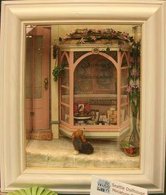"""""""Shopping"""" Windowbox Exhibited by Mary Lou Johnson at the Spring 2010 Seattle Dollhouse Show"""