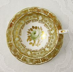 Vintage Green and Gold Tea Cup and Saucer with Green Rose by Grosvenor, English Bone China, Teacup and Saucer