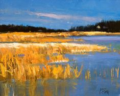 Sunset over river landscape paintings - Google Search