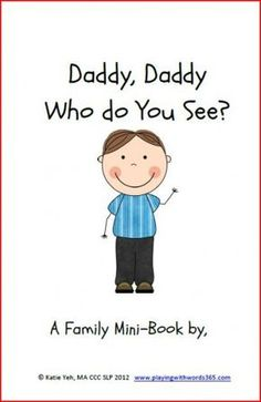 Free printable mini-book focusing on Who questions and family members.