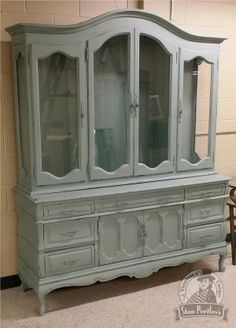 Distressed French Provincial China Cabinet In Perfect Palette Colour Van  Gogh Patina.