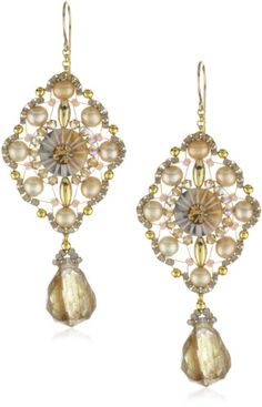 Miguel Ases Fresh Water Pearl and Rutilated Quartz Drop Earrings