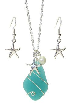 Sea Glass Necklace Turquoise Wire Wrapped Pendant w/ Starfish Charm Earrings Set Starfish Necklace, Sea Glass Necklace, Wire Wrapped Pendant, Fashion Jewellery, Wire Wrapping, Earring Set, Jewelry Gifts, Shells, Pendants