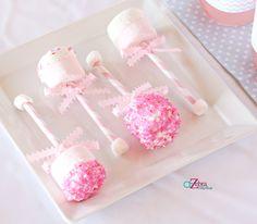 Adorable marshmallow pop rattles at a Gender Reveal Baby Shower #babyshower #genderreveal
