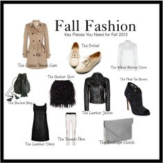 Fall 2013 Fashion by blushingblack, via Polyvore. I own a trench and a leather coat, need a white button up...as for the rest: meh, IMO.