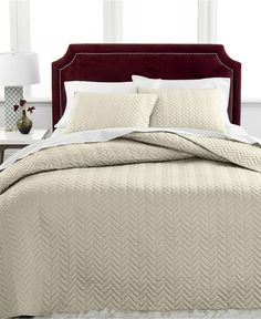 Charter Club Damask Collection Herringbone Pima Cotton 3-Pc Queen Quilted Bedspread Set, Only at Macy's - Quilts & Bedspreads - Bed & Bath - Macy's