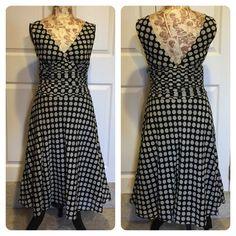 Zara Polka Dot dress Deep v cream and black polka dot dress with fitted waist band. Zara Dresses