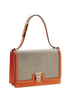 Orange and tweed handbag by Victoria Beckham