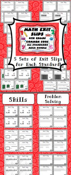 "Math Exit Slips - Assessing student learning has never been easier! This bundled pack has 5 exit slips for each of the 4th grade Common Core Math Standards. Students complete exit slips before class ends and use them as the ""ticket out the door"". They are a powerful formative assessment tool that can be used to create a data driven classroom. $"