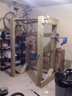 Photos of homemade power racks built by readers of this site. Home Made Gym, Diy Home Gym, Home Gym Decor, Basement Gym, Garage Gym, Abs Workout Routines, At Home Workouts, Squat Rack Diy, Diy Power Rack