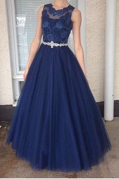 Dark blue round neck lace tulle long prom dress, unique evening dress
