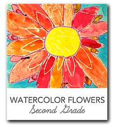 Video and lesson plan that shows kids how to draw and  paint a close-up watercolor flower in the style of Georgia O'Keeffe.