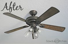 Before and after outdated ceiling fan painted an updated with ceiling fan makeover an easy diy ceiling fan makeover tutorial aloadofball Images