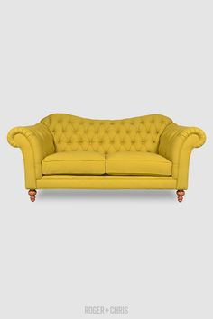 Canary yellow tufted love seat Watson Sofas and Armchairs from Roger + Chris