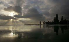 Lake Michigan, Chicago. Sunrise over frozen waters...