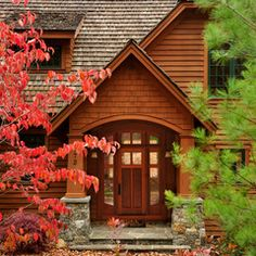 Traditional Building Front Porch Design Ideas, Pictures, Remodel and Decor Traditional Exterior, Traditional House, Traditional Design, Vinyl Shake Siding, Building Front, Small Porches, Front Porches, Front Porch Design, Entrance Design