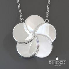 Georg Jensen Kim Naver Large Stylized Flower Silver Pendant Necklace #149