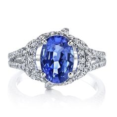 Lihara and Co 18k White Gold Sapphire and 3/4ct TDW Diamond Ring