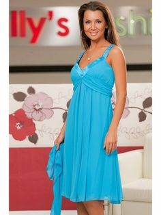 Turquoise Graduation Gown Flowy Short Knee Length Tank Strap Empire Terri --- I LOVE THIS ONE!!!!  :) Flowy Shorts, Summer Dresses, Formal Dresses, Graduation, Turquoise, Gowns, Empire, Wedding, Color