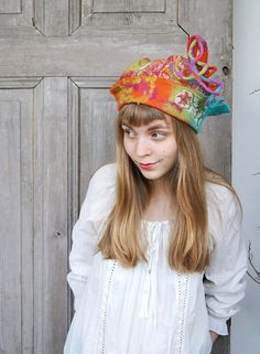 Unique fancy felted hat with tip and little dreadlocks by filcAlki