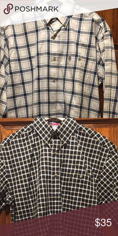 Men's brand new shirts 2 of them for one price Men's brand new shirts George Strait Wrangler Cowboy Cut Collection both size medium one is long sleeve and one is short sleeve both for one price Wrangler Shirts Casual Button Down Shirts