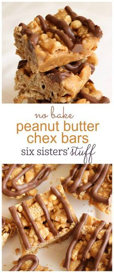 No Bake Peanut Butter Chex Bars from SixSistersStuff.com  | These peanut butter chex bars are no bake and a fast and easy dessert to make! (Chex Mix Recipes)