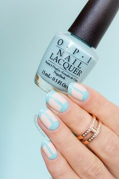 'Connected' French manicure with #OPI Gelato On My Mind: http://sonailicious.com/nude-and-blue-french-manicure-with-opi-venice/