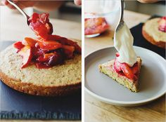citrus & polenta cake with warm stone fruits . sprouted kitchen