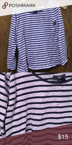 Gap XL lilac and navy long sleeve shirt size XL Worn once! GAP Tops Tees - Long Sleeve