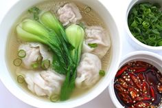 Wonton Soup. Super easy. For a gluten friendly version substitute tamari for soy sauce and rice paper for the wonton wrappers.